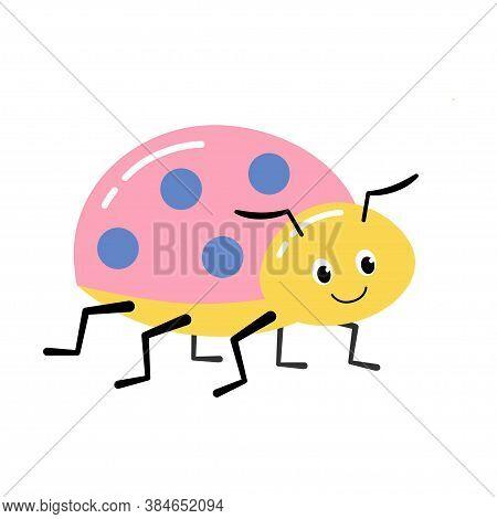 Illustration Of Cute Ladybug On A White Background