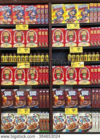 Alameda, Ca - Sept 7, 2020: Grocery Store Shelf With Boxes Of Various Breakfast Cereals And Nesquik