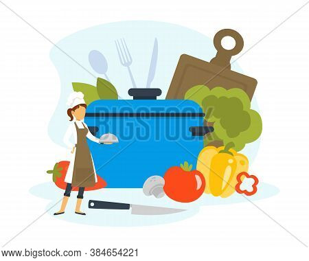 Woman Chef Cooking Healthy Vegetarian Dish In Saucepan, Tiny Kitchener Character In Uniform And Cap