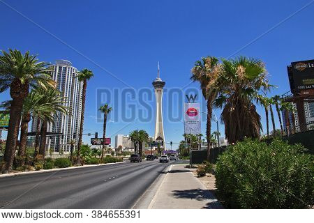 Las Vegas / United States - 05 Jul 2017: Stratosphere Hotel Casino And Tower In Las Vegas, United St