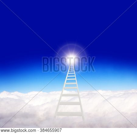 Ladder of Success Concept. Horizontal banner with stair in clouds on blue sky background. Steps to heaven in the sky. Fantastic scene with Stairway to heaven. Copy space for text. 3d render