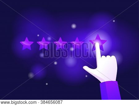 Hand Assesses Maximum 5 Stars - Positive Ranking With Five Rating Stars - Vector Illustration For Go