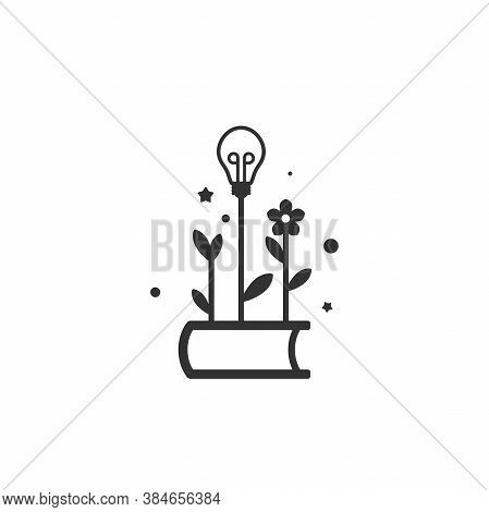 Black Line Book With Sprigs Or Sprouts, Flower And Bulb. Flat Icon Isolated On White Background.