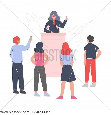 Female Politician Standing Behind Rostrum And Giving Speech, Woman Public Speaker Giving Talk In Fro