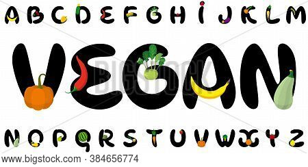 Cartoon Letters With Fruits, Vegetables, Berries. Font Of My Own Design