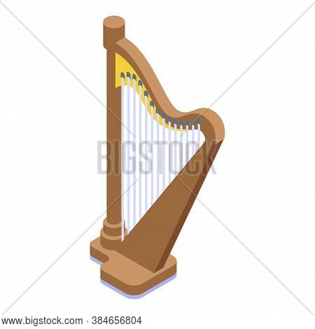 Harp Icon. Isometric Of Harp Vector Icon For Web Design Isolated On White Background