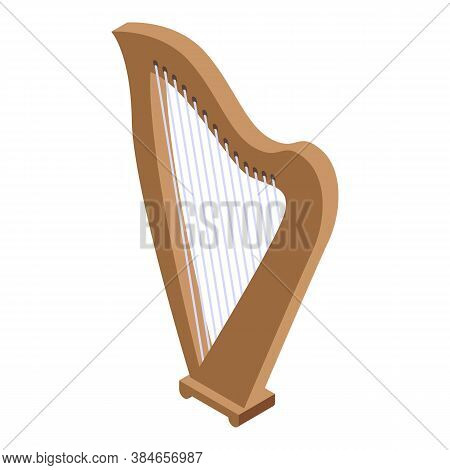 Traditional Harp Icon. Isometric Of Traditional Harp Vector Icon For Web Design Isolated On White Ba