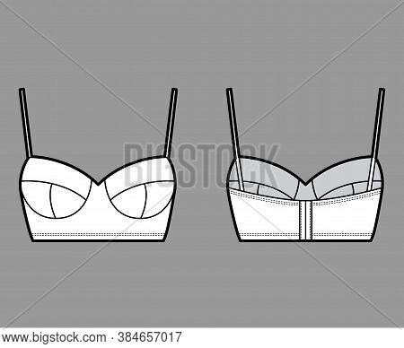 Bustier Top Technical Fashion Illustration With Cropped Length, Molded Cups, Spaghetti Straps. Flat