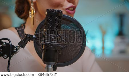 Presenter Recording Voice In Home Studio For Media Using Professional Microphone. Creative Online Sh