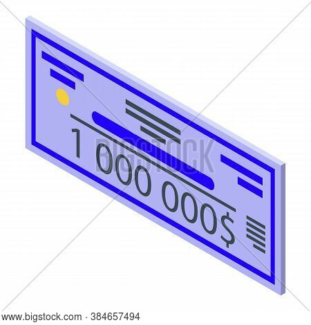 Million Lottery Win Icon. Isometric Of Million Lottery Win Vector Icon For Web Design Isolated On Wh