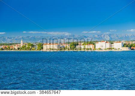 Croatia, City Of Zadar, Cityscape Frome The Seaside. Zadar Is Famous Tourist Destination At Adriatic