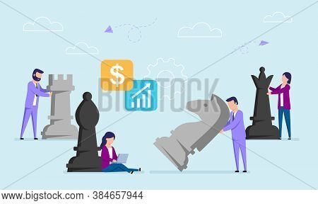 Vector Concept Illustration In Flat Style Of Businessmen Moving Big Chess Pieces. Working Strategy,