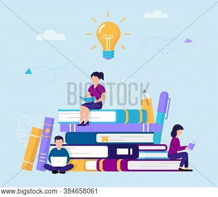Cartoon Vector Illustration Of Group Of People Reading And Studying While Sitting On Big Books. Flat