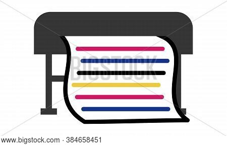 Simple flat clipart of large format printing on roll materials. Vector icon of a outdoor banner printing machine with a sheet of paper and CMYK print