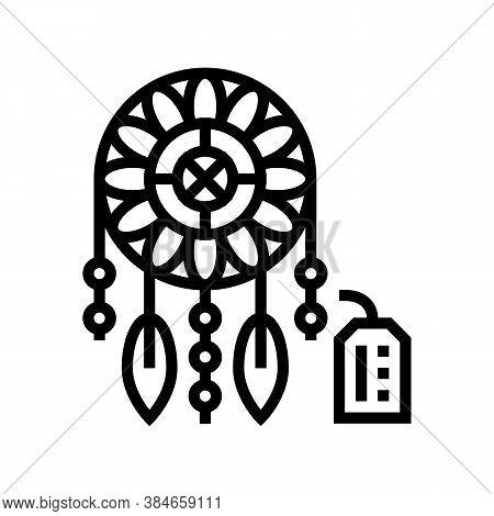 Weaving Dream Cathcer Handmade Line Icon Vector. Weaving Dream Cathcer Handmade Sign. Isolated Conto
