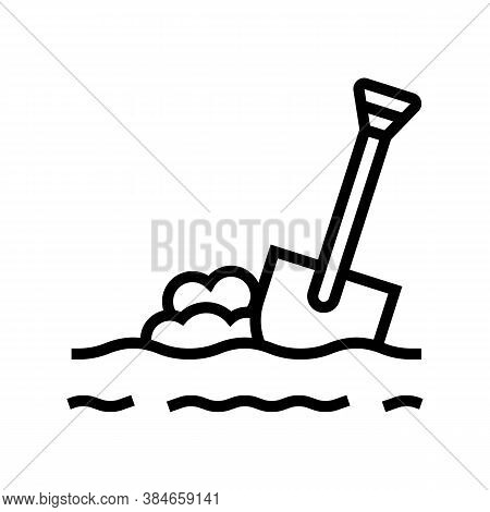 Shovel In Ground Line Icon Vector. Shovel In Ground Sign. Isolated Contour Symbol Black Illustration