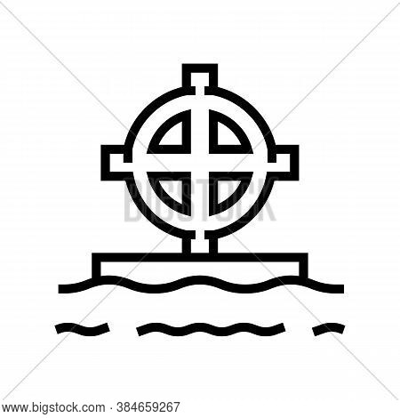 Tomb Cross Line Icon Vector. Tomb Cross Sign. Isolated Contour Symbol Black Illustration