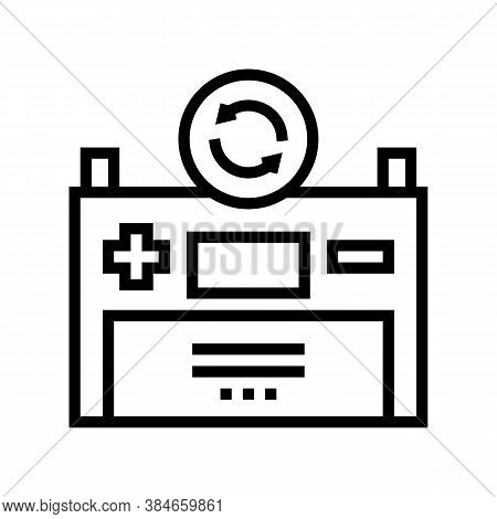 Battery Replacement Line Icon Vector. Battery Replacement Sign. Isolated Contour Symbol Black Illust