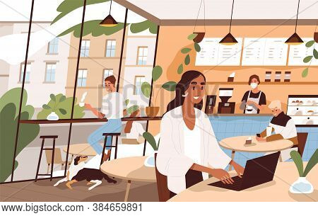 People Sit At Tables And Drink Beverages At City Cafe. Freelancer Working At Laptop. Scene Of Social