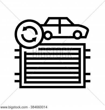 Radiator Replacement Line Icon Vector. Radiator Replacement Sign. Isolated Contour Symbol Black Illu