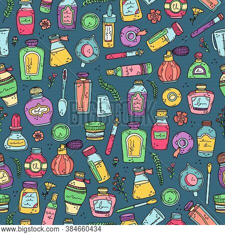 Background With Perfume Bottles, Beakers And Essential Oils. Preparation Of Perfumes. Vector Seamles