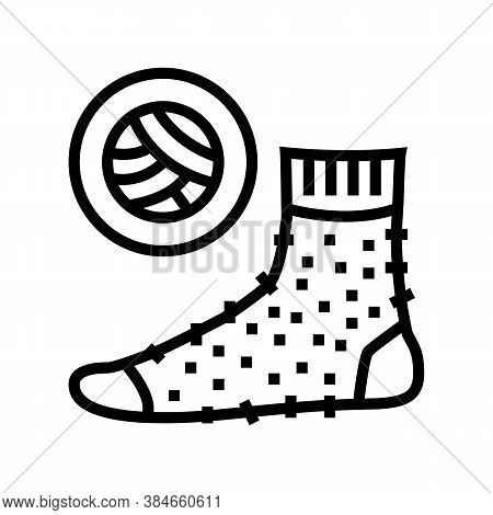 Wool Material Sock Line Icon Vector. Wool Material Sock Sign. Isolated Contour Symbol Black Illustra