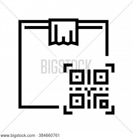 Box Delivery Individual Qr Code Line Icon Vector. Box Delivery Individual Qr Code Sign. Isolated Con