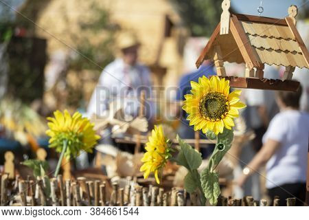 Rustic Background With Sunflower. Rustic Blurred Background.