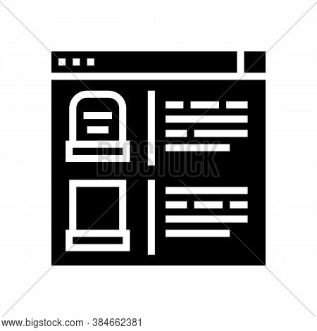 Tombstone Internet Store Glyph Icon Vector. Tombstone Internet Store Sign. Isolated Contour Symbol B