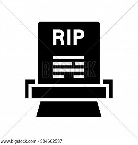 Rip Gravestone Glyph Icon Vector. Rip Gravestone Sign. Isolated Contour Symbol Black Illustration