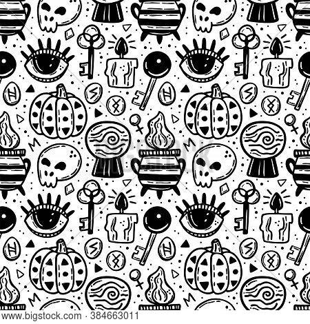 Halloween Seamless Pattern. Holiday Black Ink Silhouettes. Eye, Pumpkin, Key, Poison, Cauldron, Skul