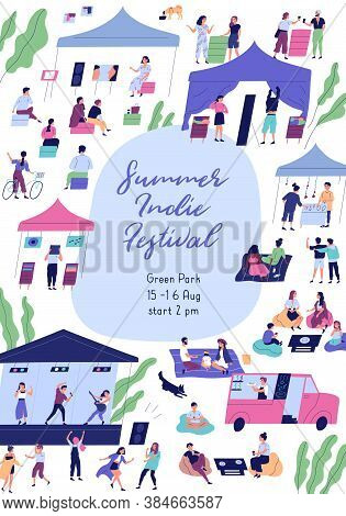 Summer Indie Festival Colorful Promo Poster With Place For Text Vector Flat Illustration. Announceme