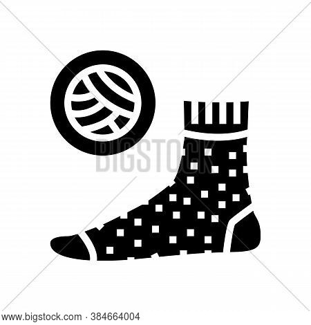 Wool Material Sock Glyph Icon Vector. Wool Material Sock Sign. Isolated Contour Symbol Black Illustr