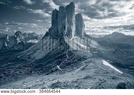 Three Peaks Of Lavaredo. Toned Image Of Italian  Dolomites With Famous Three Peaks Of Lavaredo (tre