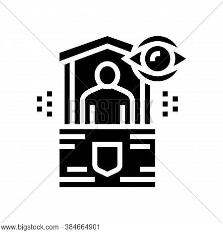 Security Post Glyph Icon Vector. Security Post Sign. Isolated Contour Symbol Black Illustration