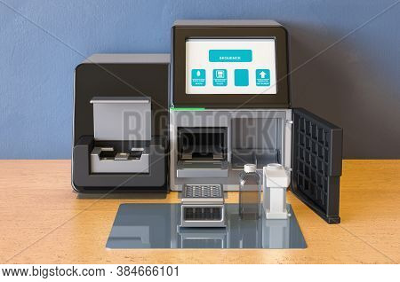 Personal Dna Sequencing System On The Wooden Table. 3d Rendering