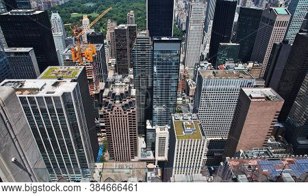 New York / United States - 02 Jul 2017: The View From Rockefeller Center In New York City, United St
