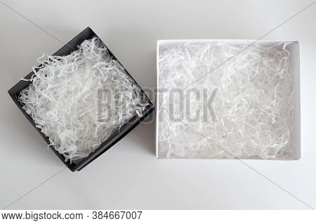 Opened Gift Boxes With Decorative Straw, Filler, Shavings. Paper Box For Your Product Placement Or M