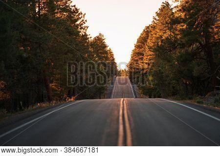 Asphalt Highway Road And Sky Sunset Clouds Landscape. Empty Highway Asphalt Road And Beautiful Sky S