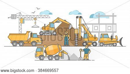 Heavy Machinery As Construction Site Duty Executing Vehicle Outline Concept. Work With Excavator, Cr