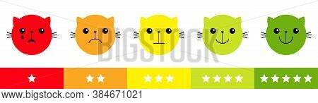 Smiley Cat Kitten Kitty Face Satisfaction Emoticon Happiness Feedback Scale. From Happy To Angry Emo