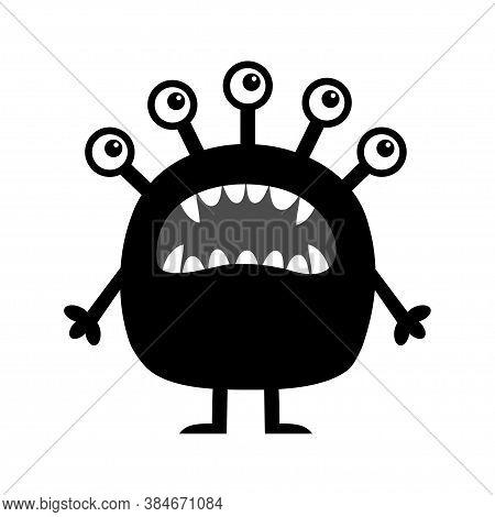 Monster. Cute Cartoon Kawaii Funny Baby Character. Screaming Face, Head. Many Eyes, Fang Teeth. Blac