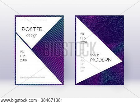 Stylish Cover Design Template Set. Neon Abstract Lines On Dark Blue Background. Fancy Cover Design.