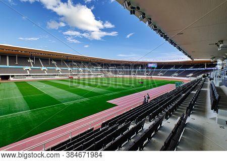 Helsinki, Finland - August 26, 2020: The Helsinki Olympic Stadium After Renovation.