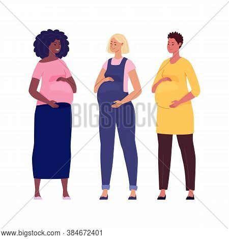 Set Of Beautiful Pregnant Women Hugging Their Big Bellies. Illustration. Vector In A Flat Cartoon St