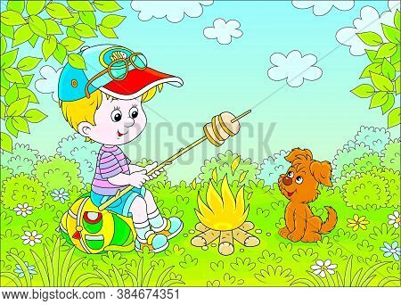Little Boy Scout Roasting Bread On Campfire On A Green Glade Of A Forest On A Sunny Summer Day, Vect
