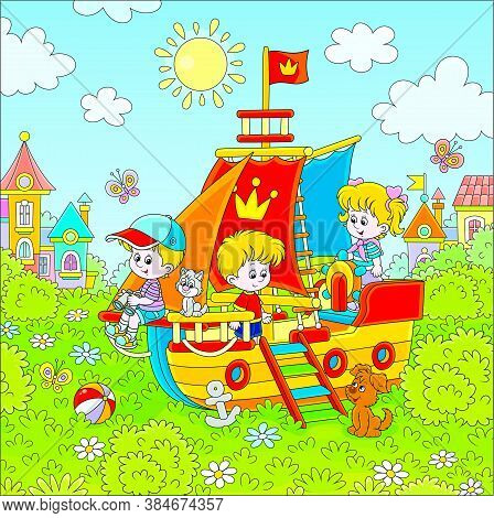 Little Children Playing On A Colorful Toy Sailing Ship On A Playground In A Green Park Of A Small To
