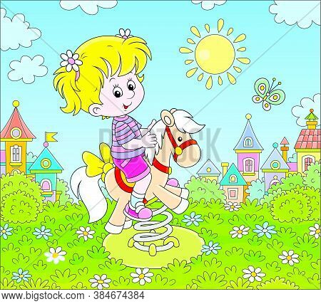 Smiling Girl Playing On A Toy Horse Swing On A Playground Of A Small Town On A Sunny Summer Day, Vec