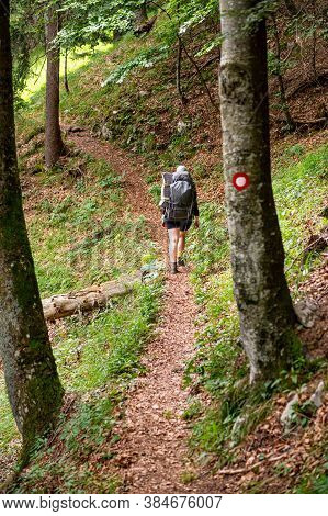 Young Woman Hiker With Backpack Walking On A Tourist Path Marked With Red And White Circle Tourist M