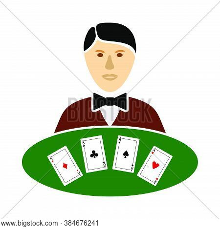 Casino Dealer Icon. Flat Color Design. Vector Illustration.